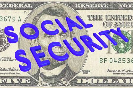 3D illustration of SOCIAL SECURITY title on Five Dollars bill as a background