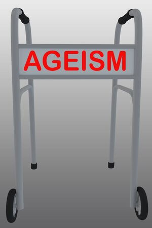 3D illustration of a walker with AGEISM title, isolated on a gray gradient.