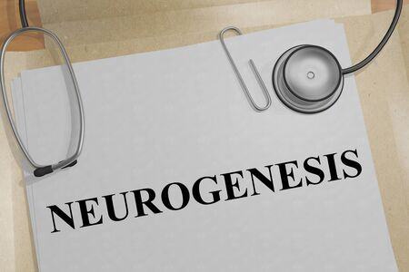 3D illustration of NEUROGENESIS title on a medical document