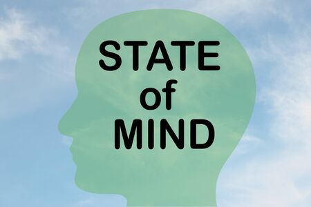 Render illustration of STATE of MIND title on head silhouette, with cloudy sky as a background.