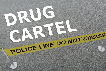 3D illustration of DRUG CARTEL  title on the ground in a police arena Stockfoto