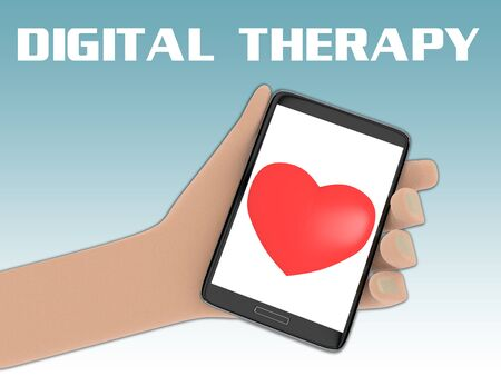 3D illustration of red heart on the screen of a cellulr phone held by hand, with the script DIGITAL THERAPY on the background. Stockfoto