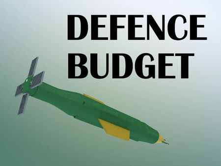 3D illustration of DEFENCE BUDGET script with a huge bomb, isolated on green gradient.