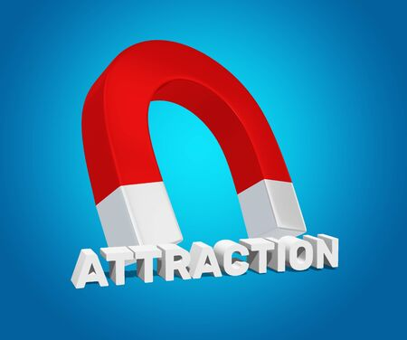 3D Render Illustration Of Magnet Atttracting The Title Attraction