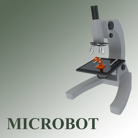 3D illustration of a microscope with microbot and MICROBOT title, isolated on a green gradient.