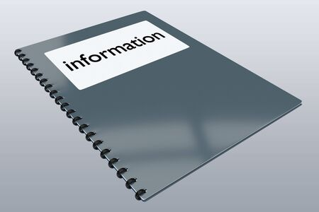 3D illustration of information script on a booklet, isolated on pale gray gradient. Stockfoto