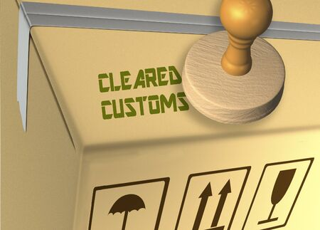 3D illustration of CLEARED CUSTOMS stamp title on a carton box