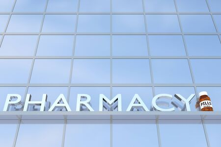3D illustration of a building with the script PHARMACY along with pharmaceutical flask