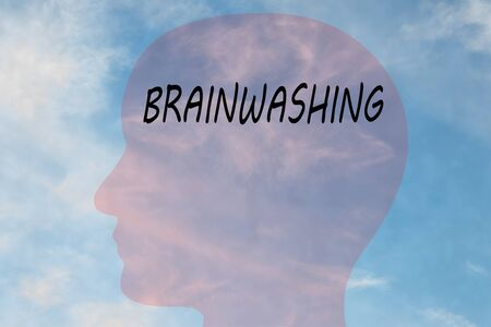 Render illustration of BRAINWASHING title on head silhouette, with cloudy sky as a background. Stockfoto