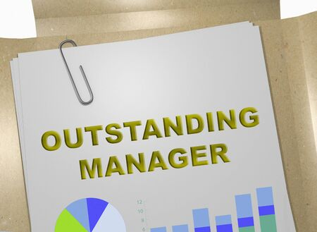 3D illustration of OUTSTANDING MANAGER title on business document
