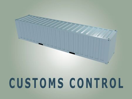 3D illustration of CUSTOMS CONTROL title under a cargo container