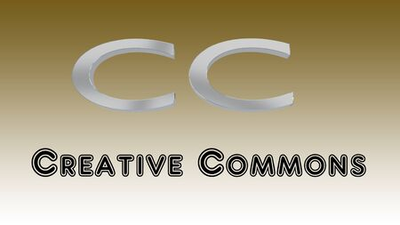 Creative Commons title below a 3D illustration of the initials CC, over a brown gradient background.