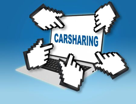 3D illustration of CARSHARING script with pointing hand icons pointing at the laptop screen from all sides