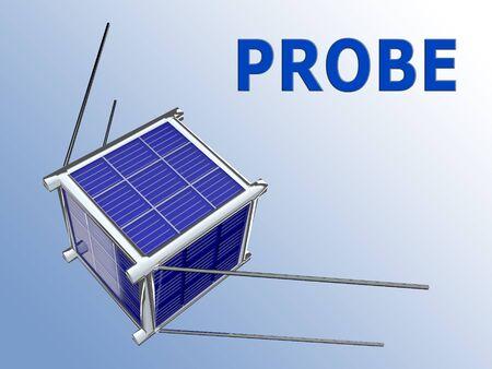 PROBE script above a 3D illustration of nano satellite Stockfoto