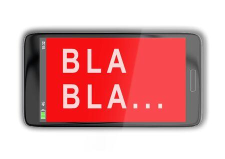 3D illustration of BLA BLA … title on cellular screen, isolated on white. Stockfoto