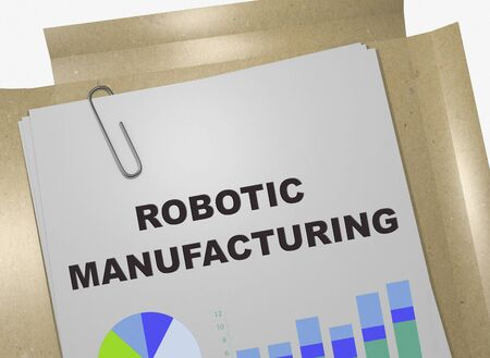 3D illustration of ROBOTIC MANUFACTURING title on business document Stockfoto