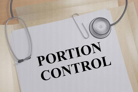 3D illustration of PORTION CONTROL title on a medical document Stockfoto
