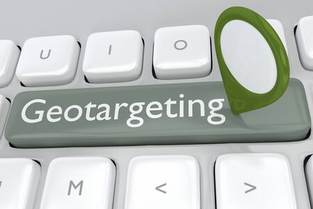 3D illustration of Geotargeting script with a location marker placed on a computer keyboard Stockfoto