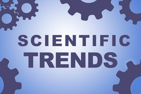 SCIENTIFIC TRENDS sign concept illustration with blue gear wheel figures on pale blue gradiennt background Stockfoto