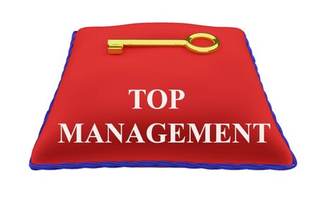 Render illustration of TOP MANAGEMENT Title on red velvet pillow with a golden key, isolated on white.