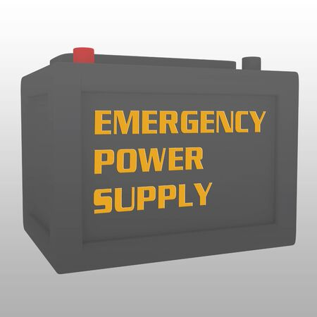 3D illustration of a battery with the script EMERGENCY POWER SUPPLY on it, with gray gradient background.