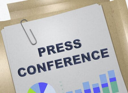3D illustration of PRESS CONFERENCE title on business document