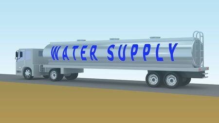 3D illustration of a tanker with WATER SUPPLY title on its side