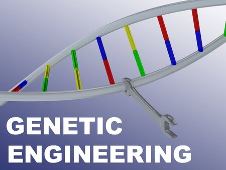 3D illustration of GENE EDITING script with DNA double helix and wrench , isolated on blue gradient.