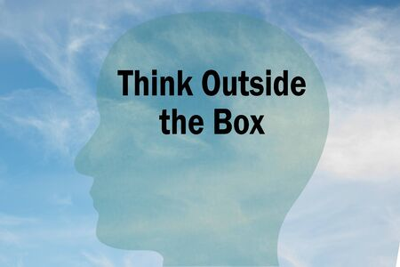 Render illustration of Think Outside the Box title on head silhouette, with cloudy sky as a background.