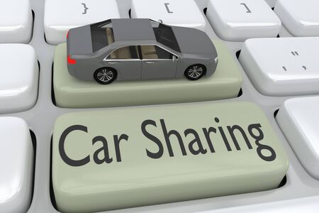3D illustration of computer keyboard with the script Car Sharing on a button, and a car placed on another button.
