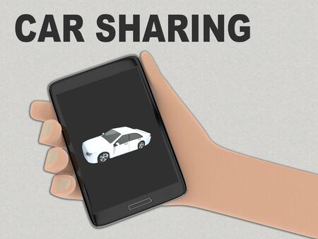 3D illustration of one dollar on the screen of a cellulr phone held by hand, isolated on gray pattern, with the script CAR SHARING on the background.