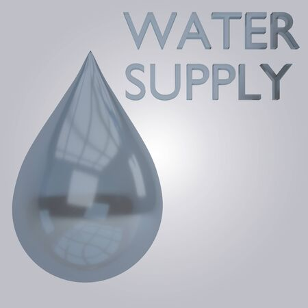 3D illustration of WATER SUPPLY title under an drop of water