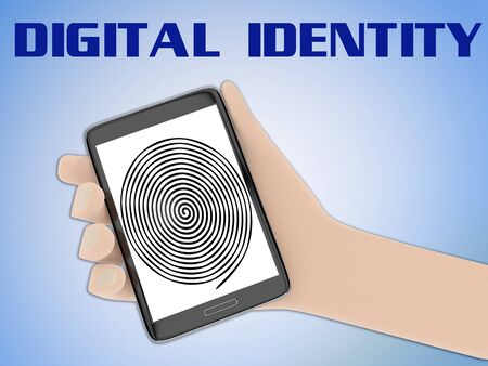 3D illustration of finger print on the screen of a cellulr phone held by hand, isolated on blue gradient, with the script DIGITAL IDENTITY on the background.