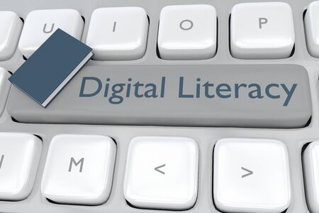 3D illustration of Digital Literacy script with a book placed on a computer keyboard.