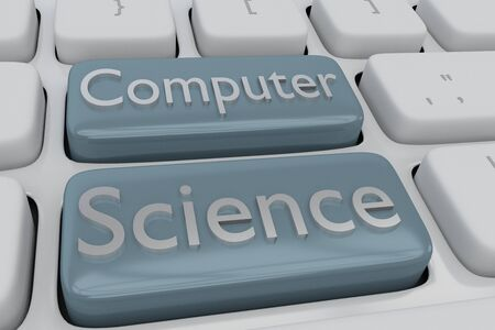 3D illustration of computer keyboard with the script Computer Science on two adjacent pale blue buttons Stockfoto
