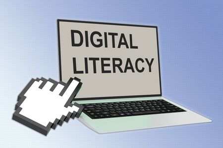 3D illustration of DIGITAL LITERACY script with pointing hand icon pointing at the laptop screen