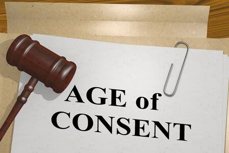 3D illustration of AGE of CONSENT title on legal document
