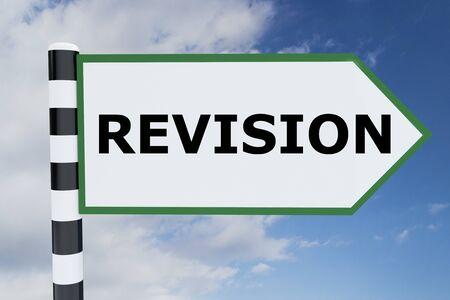 3D illustration of REVISION script on road sign Stockfoto