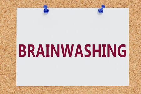 3D illustration of BRAINWASHING on cork board Stockfoto
