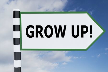 3D illustration of GROW UP! script on road sign