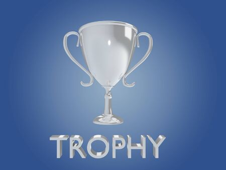 3D illustration TROPHY title with a silver grail on blue gradient as background Stockfoto