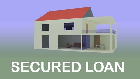 3D illustration of two-storey villa isolated on colored gradient, along with the text SECURED LOAN. Stockfoto
