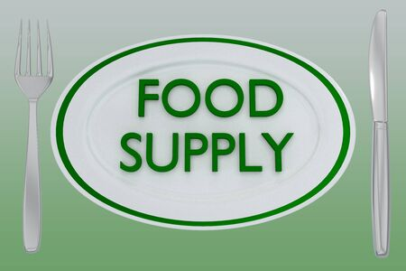 3D illustration of FOOD SUPPLY title on a white plate, along with silver knif and fork, on green gradient. Stockfoto