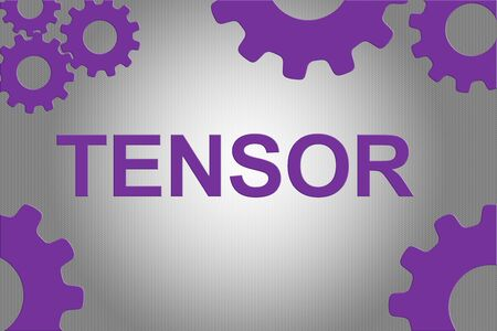 TENSOR sign concept illustration with violet wheel figures on gray gradient background