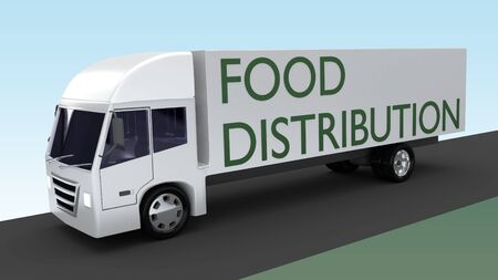3D illustration of a truck with FOOD DISTRIBUTION title on its side