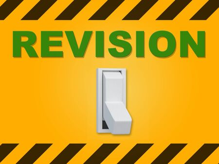 3D illustration of REVISION title above an electric switch on dark orange wall