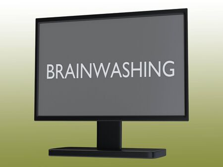 3D illustration of BRAINWASHING script on a TV screen, with green gradient as background.