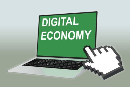 3D illustration of DIGITAL ECONOMY script with pointing hand icon pointing at the laptop screen