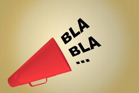 3D illustration of BLA BLA … title flowing from a loudspeaker Stockfoto