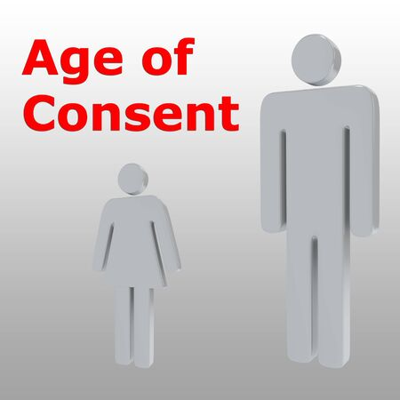 3D illustration of adult and girl with Age of Consent script, isolated on gray background. Stockfoto